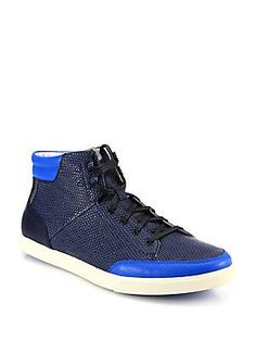 Saks Fifth Avenue Collection Saks Fifth Avenue by Cole Haan Owen Metallic Embossed Leather High-Top Sneakers