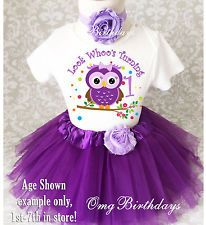 Purple Owl Look Who's Baby Girl 1st First Birthday Tutu Outfit Shirt Set Party