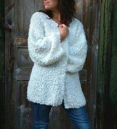 Items similar to White mohair cardigan women wool, Oversize wool sweater coat on Etsy Poncho Knitting Patterns, Coat Patterns, Knitted Poncho, Cardigan Pattern, Arm Knitting, Knit Cardigan, Long Sweater Coat, Loose Knit Sweaters, Long Sweaters