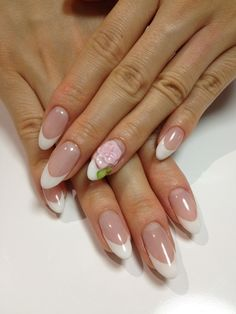 French Manicure with floral detail