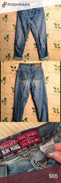 Awesome Vintage Old Navy Mom Jeans Awesome Vintage Old Navy Mom Jeans! In good condition! Tag says size 6, and they have a 27 in. Waist. They're the perfect vintage look! Old Navy Jeans