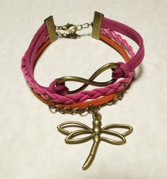 This gorgeous Wrap Bracelet features Infinity and Dragonfly Charms. Pink and Orange Multi-Strand Fashion Jewelry. Great for yourself or as a gift. Available on #eBay. Visit Grammy's Bargains eBay store for details.
