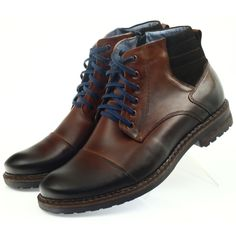 Winter boots Nikopol 683 have a distinctive, uniquely masculine cut. Thanks to this, they have the chance to please men who particularly appreciate footwear that emphasizes their Mens Brogue Boots, Brogues, Men's Shoes, Shoe Boots, Dress Shoes, Men Accesories, Trekking Shoes, Fashion Shoes, Mens Fashion