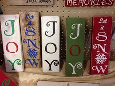 Christmas Hand painted wood signs  Joy  Let it Snow  by SullyLane, $15.00