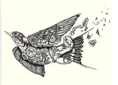 Steampunk swallow black and white gears print by criticaleggplant, $25.00