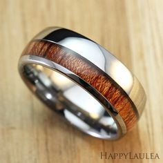 Tungsten Carbide Ring with Thick Offset Koa Wood Inlay, Dome Shape, Comfort Fitment Hawaiian Wedding Rings, Handmade Wedding Rings, Tungsten Carbide Rings, Wood Rings, Stainless Steel Rings, Wedding Men, Ring Designs, Bracelets, Jewelery