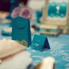 Precious Turquoise - an eclectic wedding collection, combining antique… Eclectic Wedding, Event Design, Wedding Designs, Wedding Decorations, Place Card Holders, Hand Painted, Turquoise, Antiques, Handmade