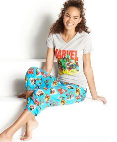 Briefly Stated Pajamas, Marvel Comics Top and Pajama Pants - Womens PAJAMAS & ROBES - Macy's