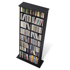 Largest CD & DVD Media Storage collection: This attractive Double CD DVD Media Storage Rack in Black by Prepac Furniture, with central divider, is designed to accommodate any combination of media Game Storage, Storage Rack, Storage Shelves, Storage Ideas, Movie Storage, Tall Shelves, Media Storage Tower, Media Shelf, Media Cabinet