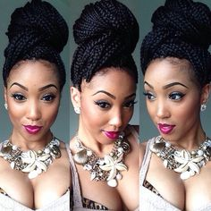 http://www.shorthaircutsforblackwomen.com/natural_hair-products/ Box braids in a hign bun updo - cute protective hairstyle for black women with natural hair...  #protective styling