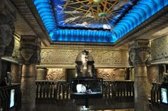 the sphinx in harrods on the top floor many places in the stores interior have an ancient egyptian theme