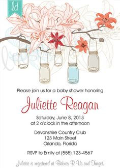 Mason Jar Invitation Red and Tan Wedding by LeesaDykstraDesigns