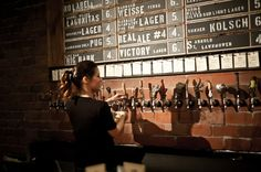 There is much to discover at new craft beer bar Hay Merchant, whether it's a new sour ale or another nod to Houston's past embedded in the west wall. Craft Beer Cellar, Brewery Decor, Beer Tower, Bar Image, Beer Shop, Pub Design, Bottle Shop, Beer Taps, Brew Pub