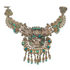 Rare 1940's MATL  Mexican Silver Turquoise Necklace