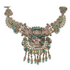 Rare 1940's MATL Mexican Silver Turquoise Necklace - Maestros de Taxco
