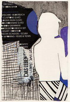 Mand - Lilla Collografi, collage, tusch 22x15