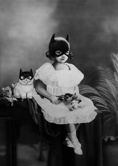 young catwoman surreal collage family portrait first pin for cats on steroids from karen hauler-davies Zoe Byland Crazy Cat Lady, Crazy Cats, I Love Cats, Art Et Illustration, Illustrations, Foto Fantasy, Image Chat, Jolie Photo, Art Graphique