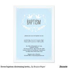 Invitación del bautizo del bautismo de las palomas