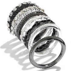 daisy fuentes® Two Tone Simulated Crystal Textured Stack Ring Set ($11) ❤ liked on Polyvore featuring jewelry, rings, bracelets, imitation rings, textured ring, two tone rings, stacking rings jewelry and 2 tone ring