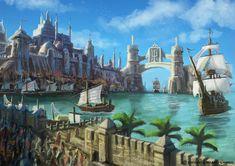 fantasy port Google Search in 2020 Fantasy landscape Fantasy town Fantasy concept art