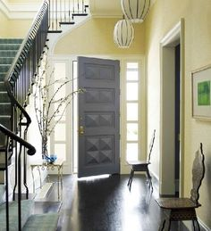 foyer- should we paint the interior of our front door?  gray is what I would do. will go with the decor....