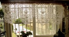Gorgeous Antique Lace Valance with Bow Burlap Curtain Shabby Rustic Chic White | eBay