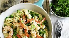 Angel hair pasta with prawn, pea and lemon sauce