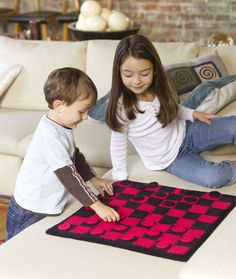Checkers Board Game Free Crochet Pattern from Red Heart Yarns
