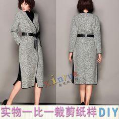 D311女装纸样实物DIY裁剪图1:1呢子大衣外套春秋休闲外套风衣长款