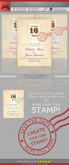Wedding - Save the Date - Stamp - Weddings Cards & Invites Template PSD. Download here: http://graphicriver.net/item/wedding-save-the-date-stamp/246784?s_rank=934&ref=yinkira