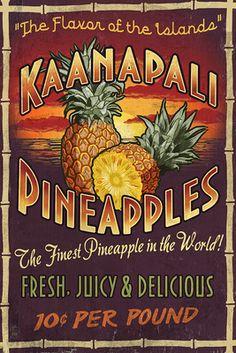 Kaanapali, Hawaii - Pineapple Vintage Sign - Lantern Press Artwork