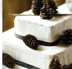 ribbon and pine cones gave the confection an elegant winter theme