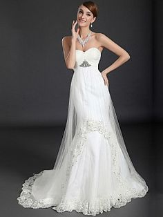 Criss Cross Detailed Tulle over Satin Mermaid Wedding Gown Features Beaded Lace Trim - USD $226.78