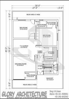 2 BHK floor plans of 5 Marla House Plan, 2bhk House Plan, 3d House Plans, Indian House Plans, Simple House Plans, Duplex House Plans, House Layout Plans, Duplex House Design, Bedroom House Plans