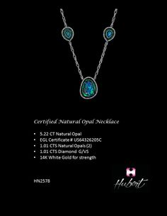 HN2578-Certified Natural Opal Necklace