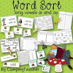 Word Sort long vowels ai and ay Harcourt Trophies Story Frog and Toad All Year The Corner