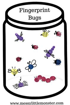 Fingerprint bug jar craft for kids with free printable jar. A fun and easy bug activity idea for Spring, Summer, bugs and insect themed projects for toddlers, preschoolers and kids.