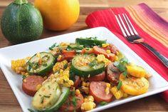 In need of a wholesome dinner option for tonight? We've got you covered with this Spicy Sausage and summer squash skillet.