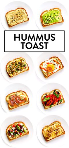Hummus Toast is fun to customize with your favorite toppings and makes for a delicious easy breakfast lunch dinner or healthy snack Read more for details on 8 of our favo. Hummus, Tostadas, Tomatoes On Toast, Healthy Snacks, Healthy Eating, Lunch Snacks, Dinner Healthy, Vegan Recipes, Cooking Recipes