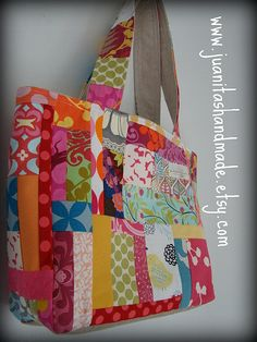 e7cb131d3e9 love the patchwork and the great colors Patchwork Bags, Quilted Bag, Fabric  Bags,