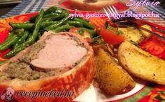 Wellington sertésszűz steak burgonyával és párolt zöldbabbal recept fotóval Steak, Beef Recipes, Mashed Potatoes, Sausage, Pork, Ethnic Recipes, Advent, Meat Recipes, Whipped Potatoes