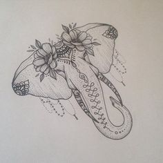 Elephant Tattoo with Flowers by Medusa Lou Tattoo Artist - medusaloux@hotmail.com