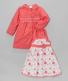 This Coral Polka Dot Halter Dress & Jacket - Infant, Toddler & Girls by Longstreet is perfect! #zulilyfinds