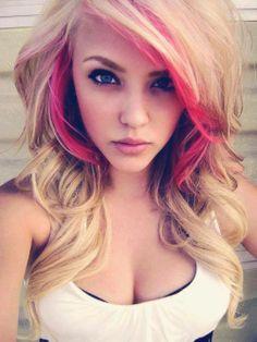 Blonde w/ pink highlights