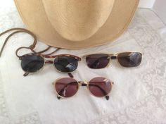Vintage Designer Sunglasses / 1980's retro / photo props Steampunk costuming / Jean Paul Gaultier Rolling Parim / Gold tortoiseshell frames by PureJoyVintage on Etsy