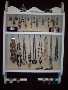"""Large Wooden Cream Jewelry Organizer/Display Board w/fabric covered cork backing -""""21x""""31 by Marlo Custom Creations on ETSY for $79.95"""