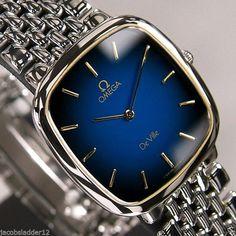 OMEGA DE VILLE QUARTZ BLUE DIAL Swiss Made Antique Vintage Rare Used Men's Watch #Omega #LuxuryDressStyles