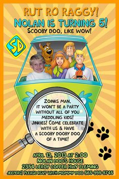 Scooby Doo BIRTHDAY PARTY Photo INVITATIONS & Thank you by 10x10us, $9.99