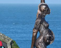 'verity statue' by damien hirst erected in ilfracombe, UK