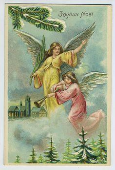 Vintage Pastel Angels Z Christmas Card